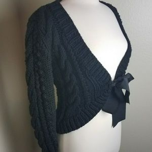 Trina Turk black ribbon tie front cable sweater M